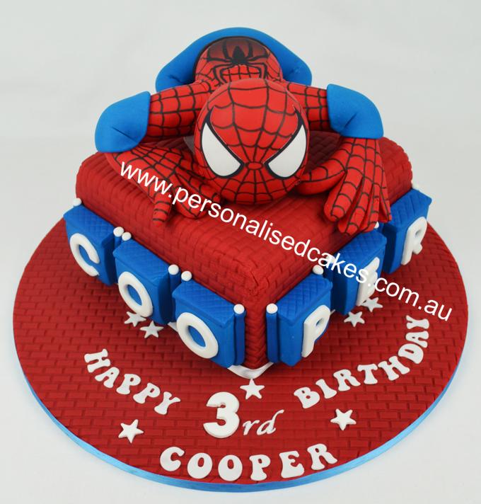 Spiderman Childrens birthday cake Personalised Cakescomau