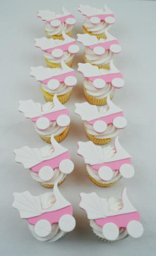 baby pram cupcakes