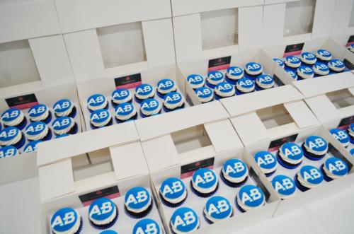 Boxed logo cupcakes